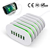 Universal USB Charging Station, eSamcore 6-Port USB Docking Station [Fast Charging] Multiple Devices for iPhone, iPad, Samsung Galaxy, Tablets, Kindle & Nintendo Switch [White/Green]
