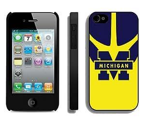 Custom Best Design Ncaa Big Ten Conference Football Michigan Wolverines 12 Black iPhone 4 4S Case