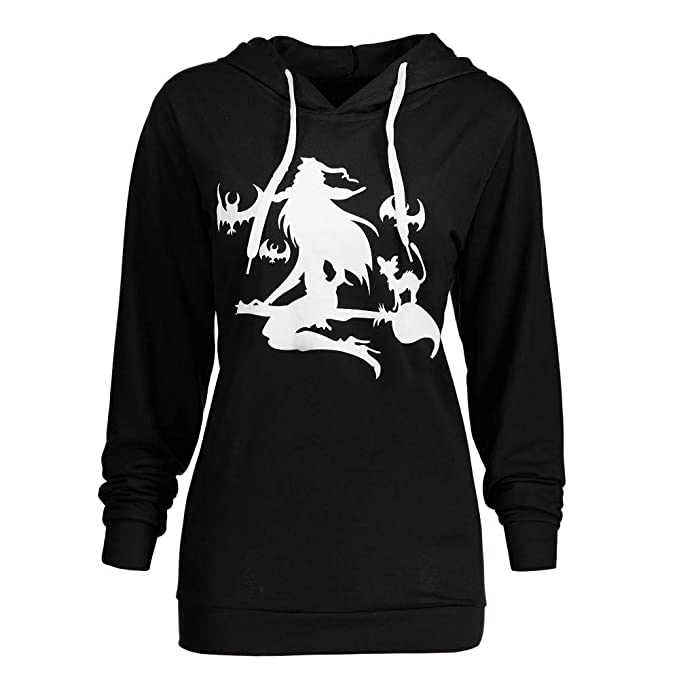 uonqd women halloween sweatshirt plus size witch print hoodie blouse tops smallblack