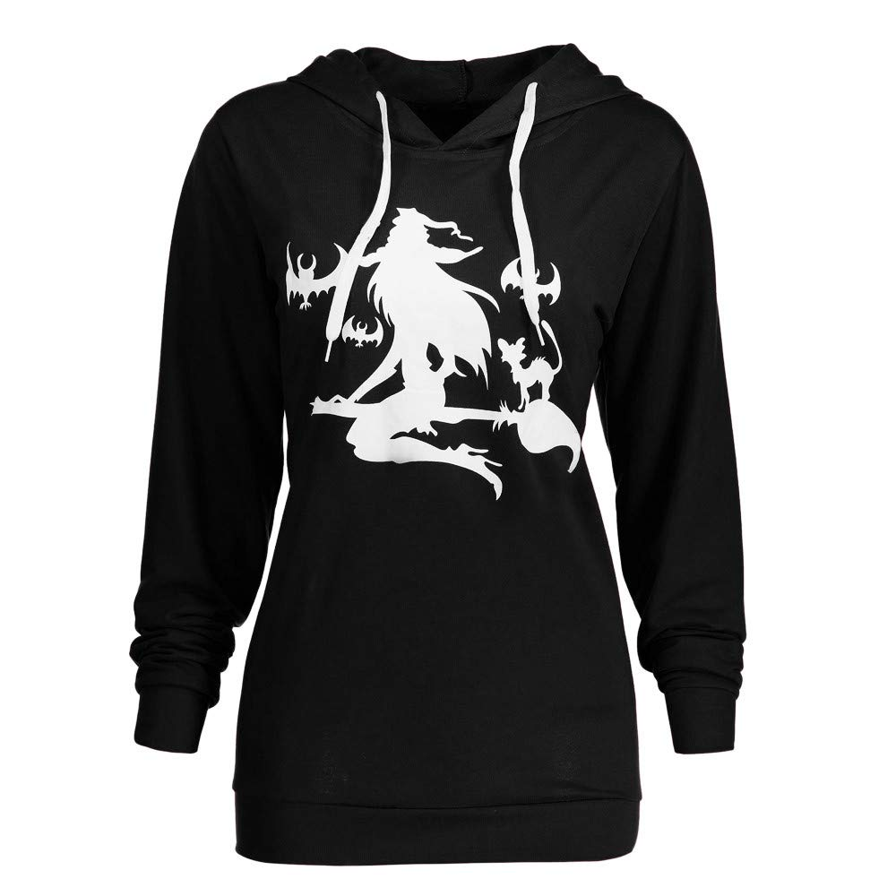HHei_K Womens Happy Halloween Lounge Witch Mop Flying Print Long Sleeve Hoodie Drawstring Hooded Sweatshirt