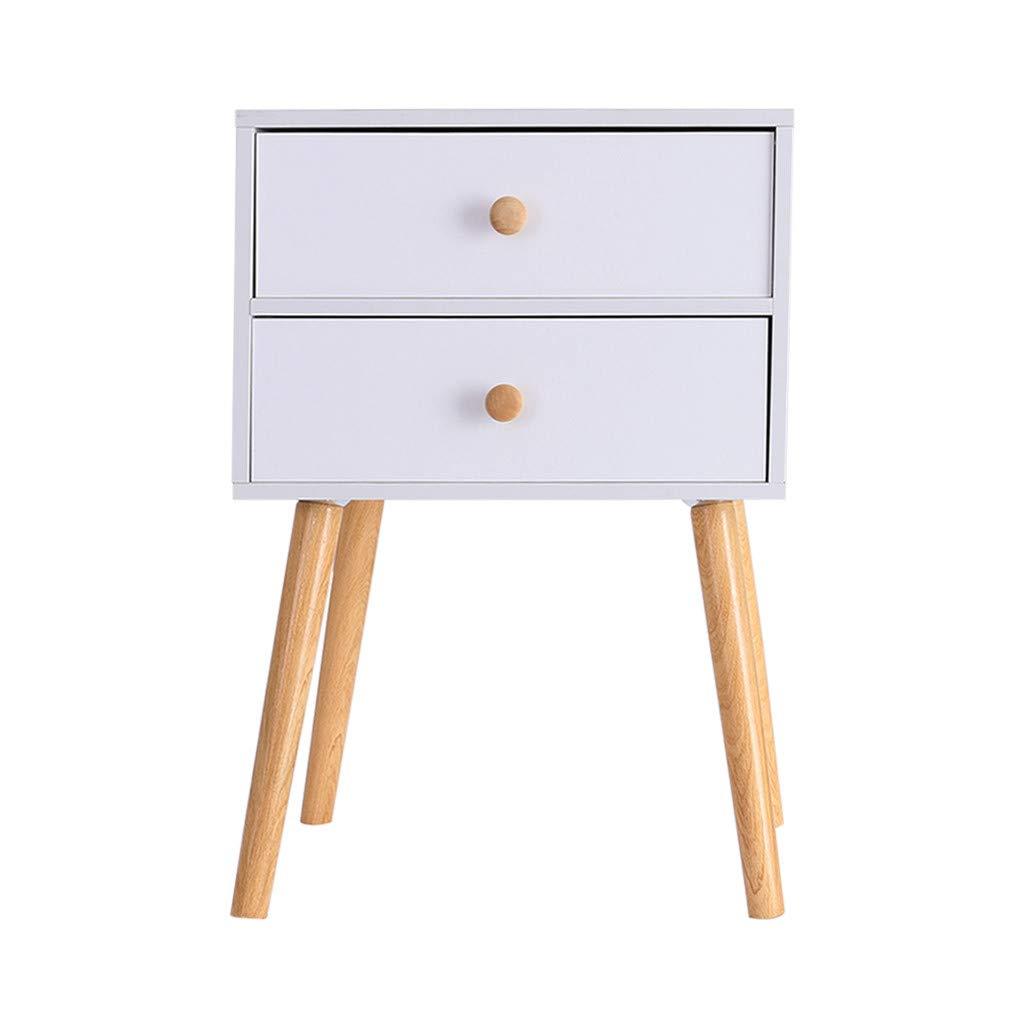 Rigel7 North American Modern Minimalist Nightstand Bedside, Locker Double Drawer Nightstand Cabinet Storage Solid Wood Legs Livingroom End Table 11.8×15.7×23inch by Rigel7