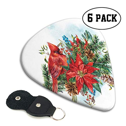 (Guitar Picks 6 pcs,Christmas Themed Bird On Festive Floral Bouquet Poinsettia Pinecones And Berries)