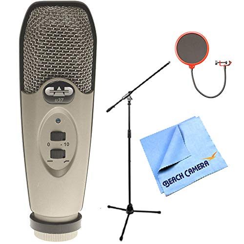 CAD Audio U37 USB Large Diaphragm Cardioid Condenser Microphone w/Tripod, 10' Cable Silver + Microphone Wind Screen with Mic Stand Clip + Professional Microphone Stand with Boom by CAD Audio