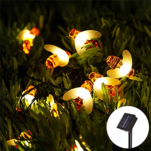 Obrecis 20 LED Bee Solar String Lights, 8 Modes Honey Bee Decor Waterproof Hanging Lamp Fairy Lights for Garden, Patio, Yard, Tree, Outdoor -16ft (Bees)