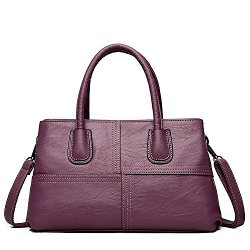Penao Cross Stitching Pu Single Shoulder Handbag, Fashion Ladies Two Floors, Purple Size 34cmx10cmx20cm