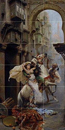 Tile Mural SWEPT OFF HER FEET by Fabio Fabbi horse girl woman men Kitchen Bathroom Shower Wall Backsplash Splashback 3x6 4.25'' Ceramic, Matte by FlekmanArt