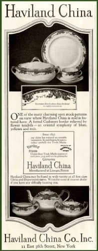 Cashmere Border in 1924 Haviland Limoges China AD Original Paper Ephemera Authentic Vintage Print Magazine Ad/Article