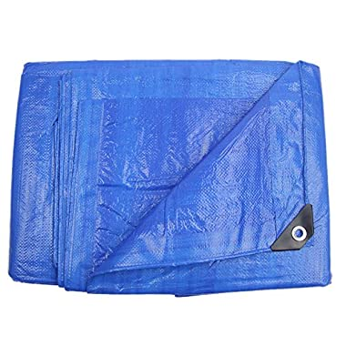 Lightweight Outdoor Tarp Hanjet 6' x 8' 5-mil Waterproof Blue Tarps Covers for Toys Boats with Grommets
