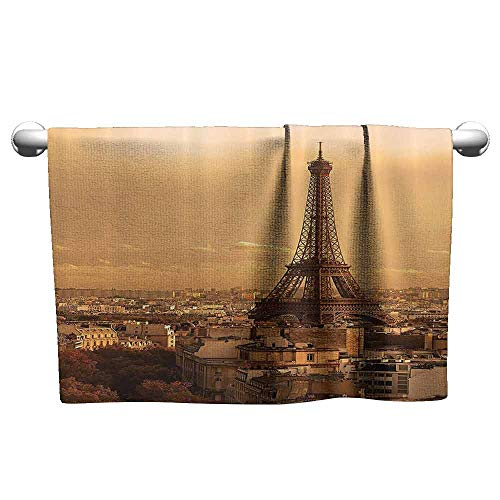 (Mannwarehouse Eiffel Tower Decor Collection Quick Dry Towel Sunset Old Buildings Tower Rooftop Vacation Honeymoon Journey Monochromatic Image W12 x L27 Ivory Cream)