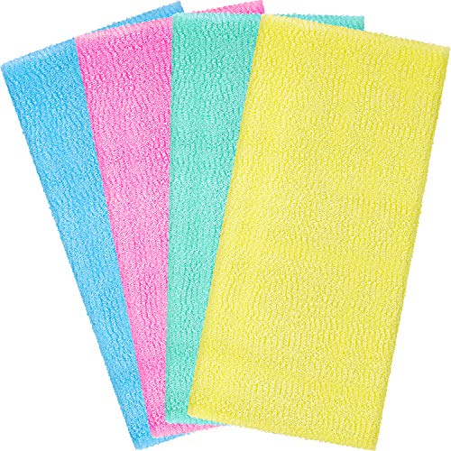 Boao 4 Pieces Beauty Skin Bath Wash Towel Exfoliating Bath Cloth Magic Shower Washcloth for Body 35 Inches (4 Colors)