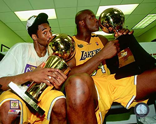 Kobe Bryant Championships - Kobe Bryant & Shaquille O'Neal Los Angeles Lakers 2000 Championship Trophy Action Photo (Size: 11