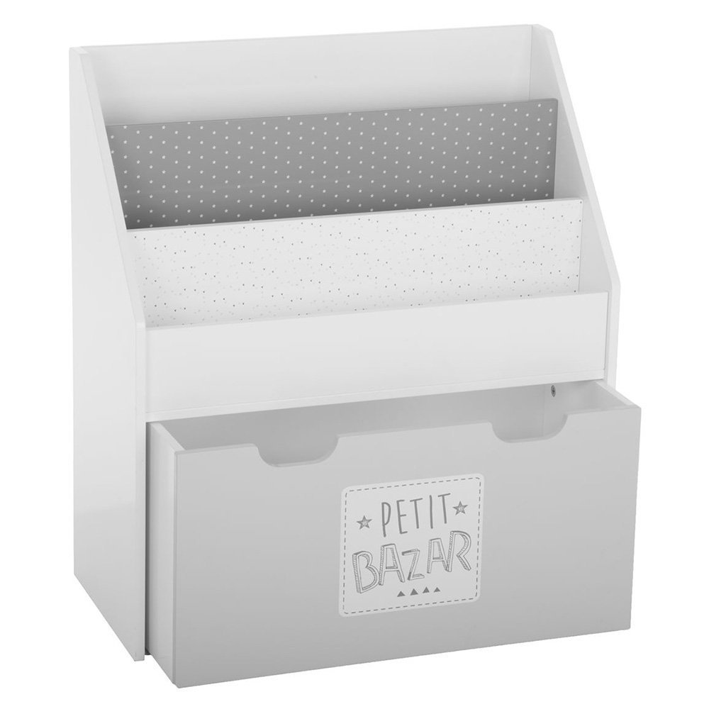 2 in 1 : Bookcase and storage chest for children - Colour GREY and WHITE ATMOSPHERA