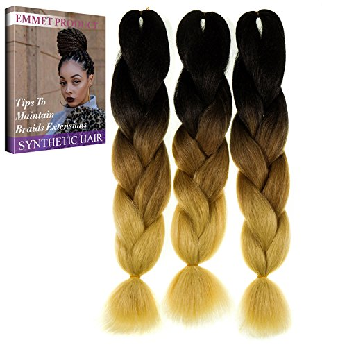 """Emmet Jumbo Braiding Synthetic Hair 100g/pc 24"""" Long Kanekalon African Braids Hair Extension, with Hair Care Ebook (24"""", 3 Pack, Ombre Color 20)"""
