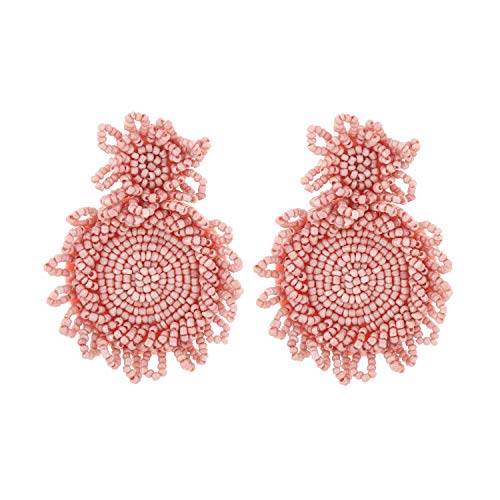 Szory Bohemian Statement Beaded Round Drop Earrings for Women Pink (Silhouettes Round Earrings)