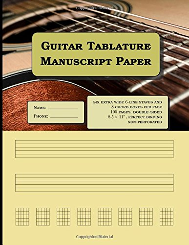 Guitar Tablature Manuscript Paper - six extra wide 6-line staves and 8 chord boxes per page, 100 pages: Notebook size = 8.5 x 11 inches (double-sided), perfect binding, non-perforated