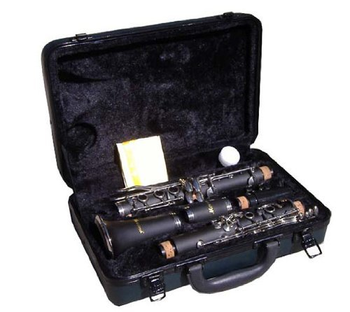 Merano WD401BK-MM B Flat Black/Silver Clarinet with Case, Metro Tuner and Music Stand