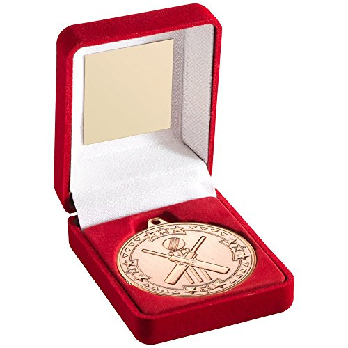 Lapal Dimension RED VELVET BOX AND 50mm MEDAL CRICKET TROPHY - BRONZE 3.5in by Lapal Dimension