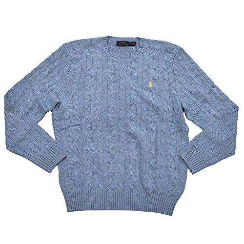 Polo Ralph Lauren Mens Cable Knit Silk Crewneck Sweater (M, Sky Heather Blue)