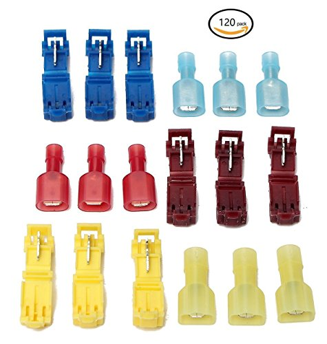 GekBot 120pcs T-Tap Nylon Fully Insulated Male Spade Terminals and (Deluxe Cable Tester)