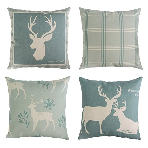 (BLEUM CADE Set of 4 Decorative Throw Pillow Covers Cushion Couch Pillow Cover 100% Cotton Linen Deer Pattern for Home Office Car Sofa 18x18 inches (45x45 cm))
