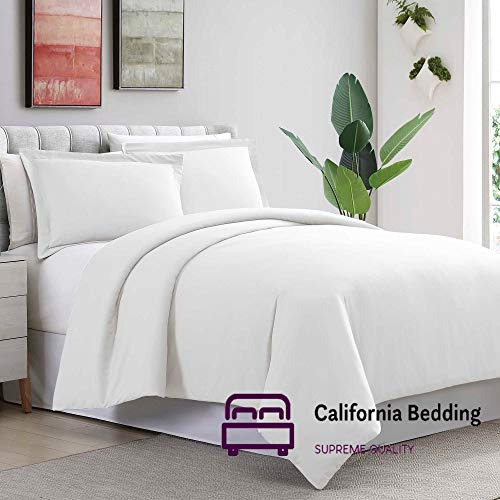 Hotel Luxury 800 Thread Count Long Staple Egyptian Cotton Eastern King 118x108 Size 3-Pieces Duvet Cover Set Hidden Zipper Closer & Corner Ties Breathable and Fade Resistant White Solid