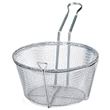 Winco 10-1/2-Inch Round Wire Fry Basket, 6-Mesh, Medium, Nickel