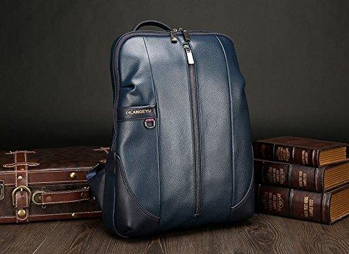 WTUS Hombre Nuevos hombres de la mochila de tendencia puro Pu m paquete ocio moda de Turismo de Bolsa Azul