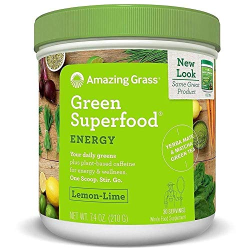 Amazing Grass Energy Green Superfood Lemon Lime Flavor, 7.4-Ounce Tub (Amazing Grass Energy Lemon Lime)