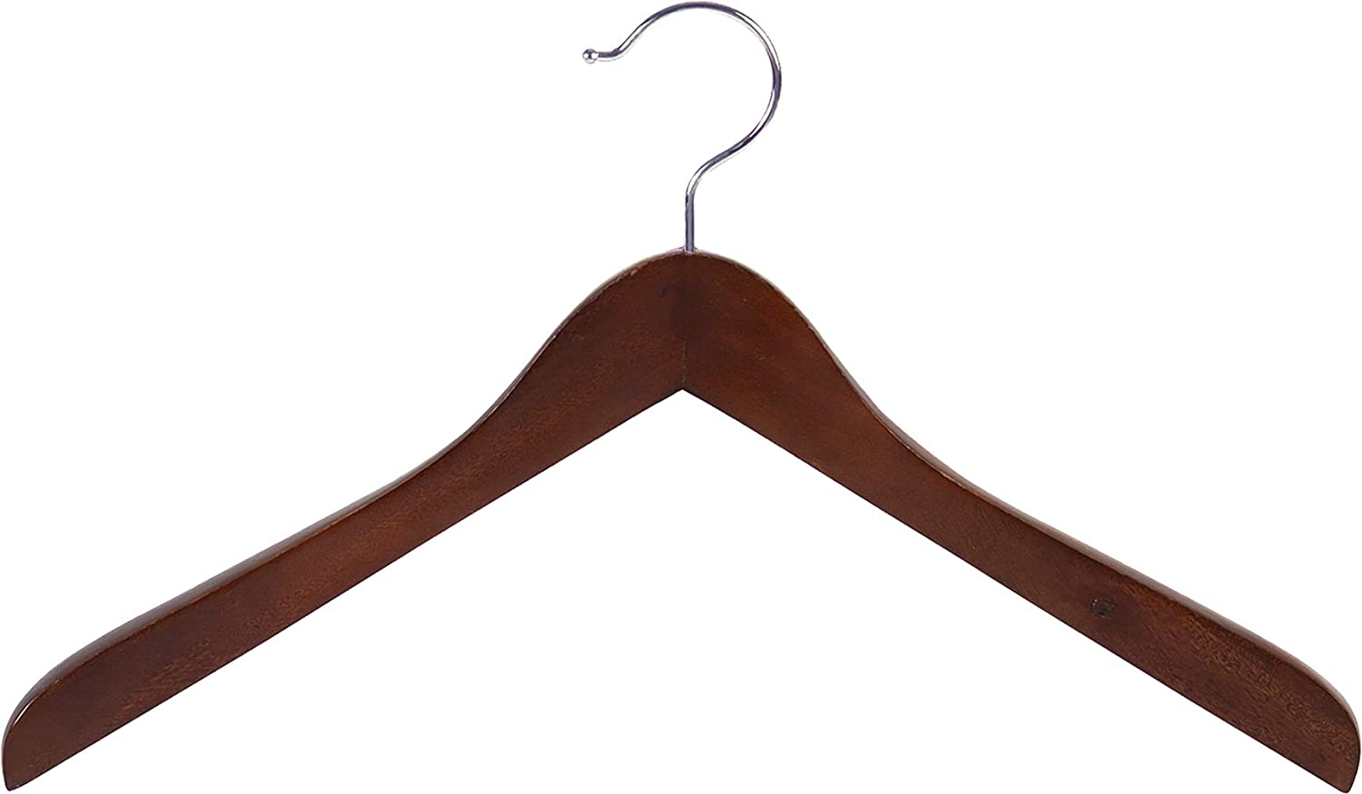 Set of 12 by The Great American Hanger Company Thick Curved Coat Hangers with Chrome Swivel Hook for Jackets or Fine Shirts Concave Wooden Top Hanger with Walnut Finish