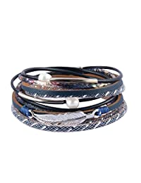 COOLLA Women's Leather Bracelet - Feather Wrap Bracelet Pearl Cuff Wristband for Girl, Teens Birthday Gift