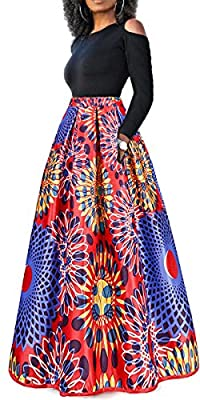 lexiart Two Pieces Dresses For Women Floral African Maxi Skirt With Pockets Off Shoulder Long Sleeve Top Blouse Set S-6XL