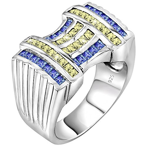 Century Crystal Twelve Light (Men's Elegant Sterling Silver .925 Ring with 52 Fancy Azure Blue and Light Canary Cubic Zirconia (CZ) Channel Set Baguette Stones, Platinum Plated Size, 12)
