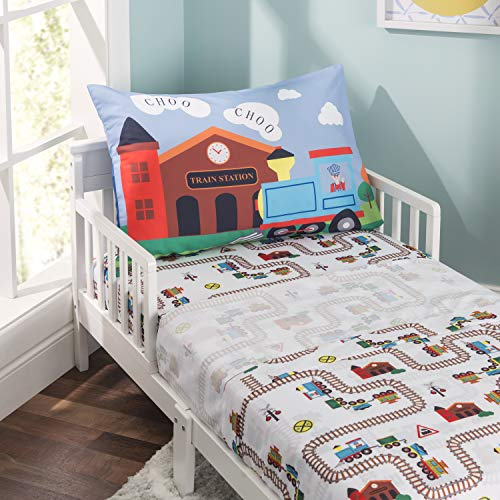 EVERYDAY KIDS 3-Piece Toddler Fitted Sheet, Flat Sheet and Pillowcase Set - Choo Choo Train - Soft Microfiber, Breathable and Hypoallergenic Toddler Sheet Set