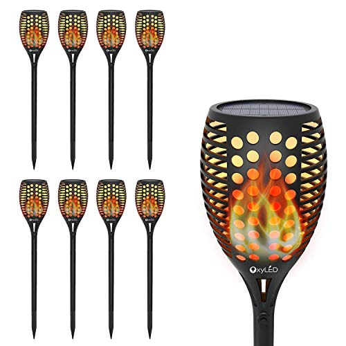 OxyLED Solar Torch Lights, Garden Pathway Light with Realistic Dancing Flames, Waterproof Landscape Lighting with Auto On/Off Dusk to Dawn for Halloween Christmas Lights Decorations (8 Pack) ()