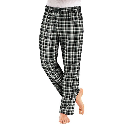 Hanes Men`s Flannel Pants with Comfort Flex Waistband, XL, Black (Hanes Flannel Plaid Pajamas)