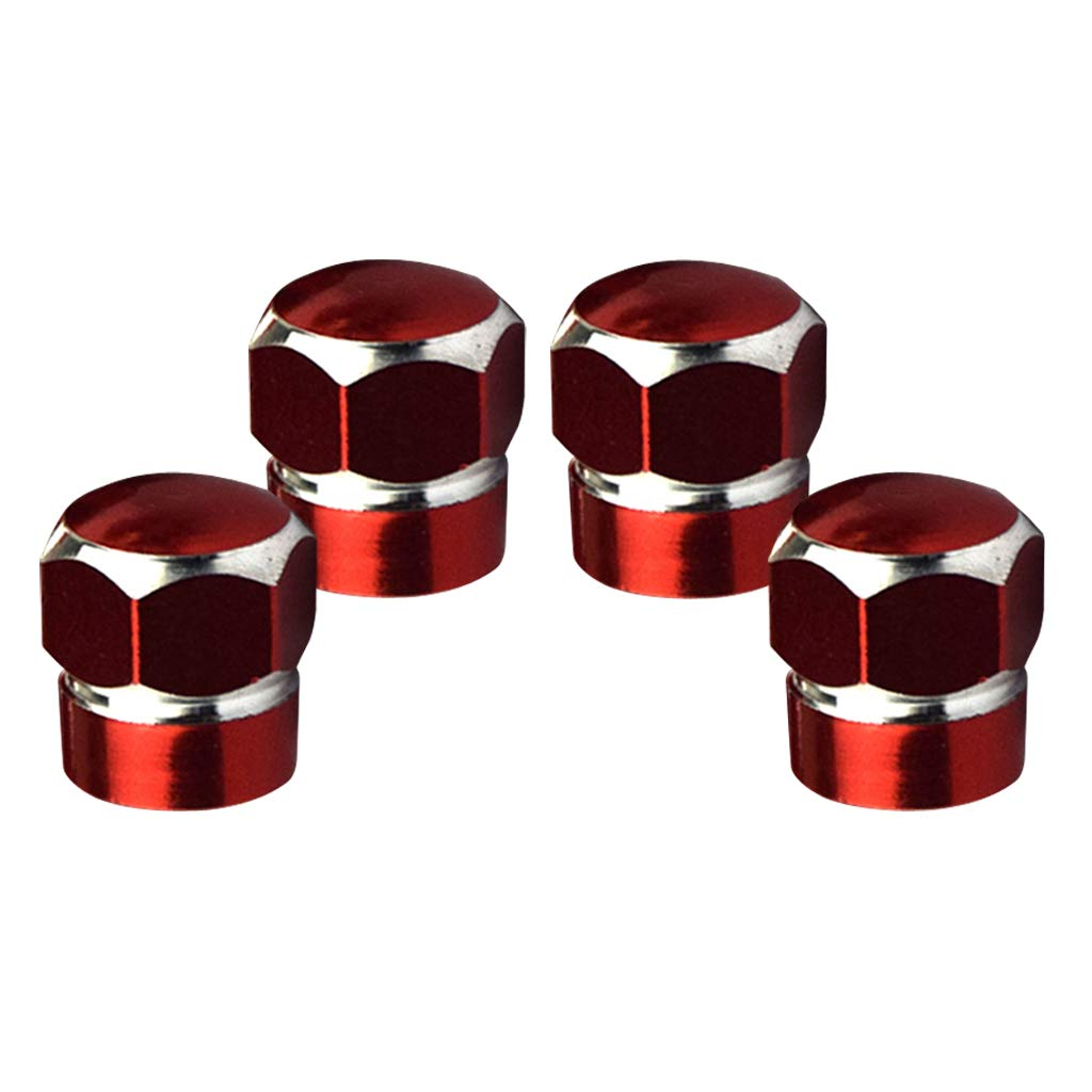 Baosity Hexagon Style Chrome Red Aluminum Alloy Tire Valve Stem Caps for Car Truck