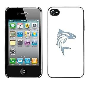 For Apple iPhone 4 / iPhone 4S / 4S Case , Fishing Blue Minimalist Art White - Diseño Patrón Teléfono Caso Cubierta Case Bumper Duro Protección Case Cover Funda