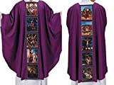 The Lenten Story Purple Polyester Chasuble with Inner Stole, 51 Inch