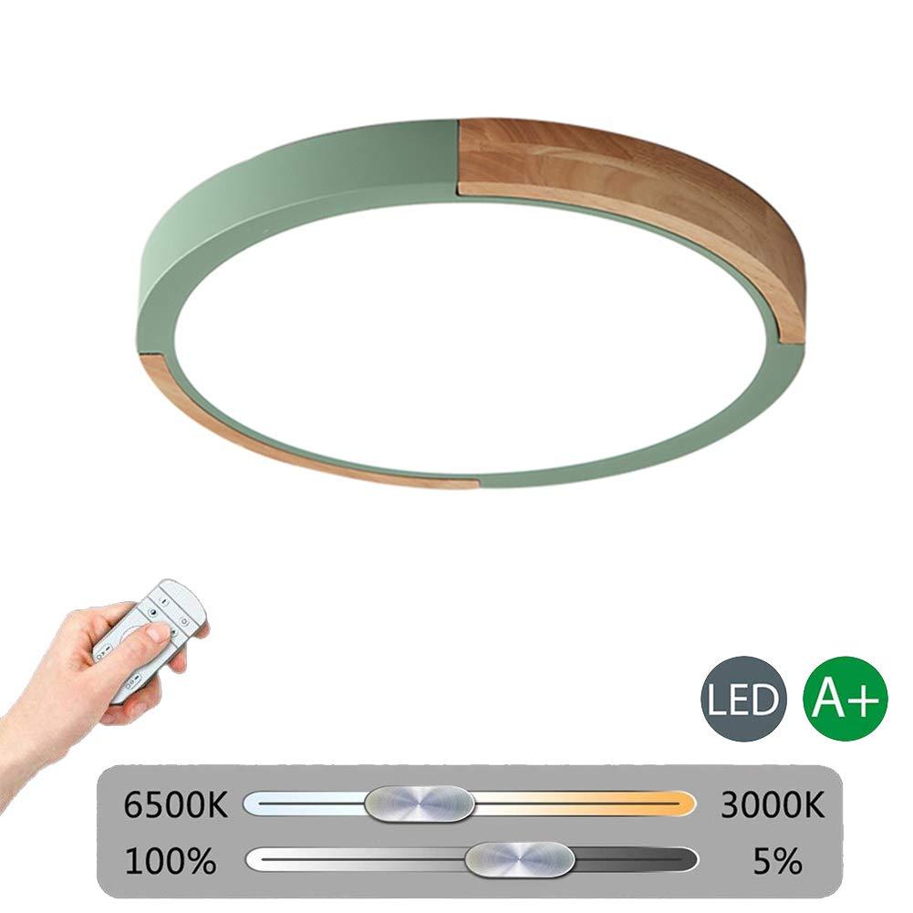 VinDeng Einfache Runde LED Deckenleuchte, 24w Dimmbar 16 zoll Holz Deckenlampe Ultradünn Für Esszimmer Küche Schlafzimmer-grün Stufenloses Dimmen