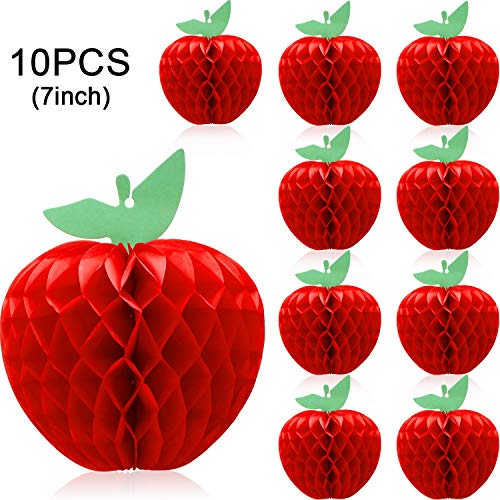 10 Packs Honeycomb Tissue Paper Apple Hanging Paper Apple Fruit Decoration for School Garden Room Party Decorations, Red (7 Inch)]()