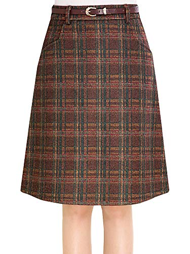 (Women A-Line Casual Wool Blend Plaid Flared Skirt Coffee Tag M-US XXS)