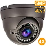 Analog Dome Camera 4-in-1 5MP TVI/ 5MP AHD/ 4MP CVI/ 960H CVBS Security Dome CCTV Camera, 2.8mm-12mm Manual Focus Lens, True Day & Night Monitoring IP66 (Black)