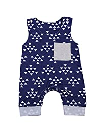 Newborn Baby Boys Triangles Pattern Printed Romper Outfits Sleeveless Summer Bodysuit