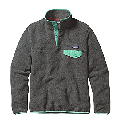 Patagonia Women Light Weight Synch Snap-T Pull Over Sweater - Nickel w/ Galah Green