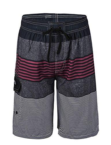 Striped Mens Swimsuit - Nonwe Men's Swimwear Quick Dry Striped Swim Trunks Striped Red 32