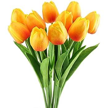 Amazon.com: GTIDEA 10pcs Realistic PU Artificial Holland Tulip Flowers Lifelike Faux Bouquet