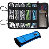 BUBM New Cable & Pens Holder, Cords Stable, Small Electronics Organizer Management Kit, Sky Blue