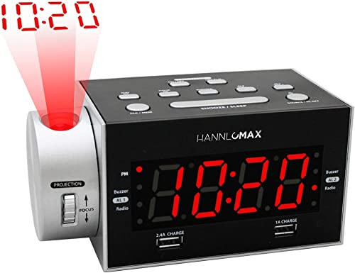HANNLOMAX HX-135CR Alarm Clock Radio with Projection, PLL FM Radio, Dual Alarm, USB Ports for 2.4A and 1A Charging, Red LED Display