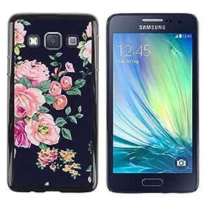 Be Good Phone Accessory // Dura Cáscara cubierta Protectora Caso Carcasa Funda de Protección para Samsung Galaxy A3 SM-A300 // rose black vignette rustic floral textile