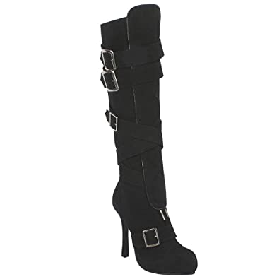 a48b94152caca Amazon.com | 4 Inch High Heel Boots Criss Cross Buckles Microfiber ...